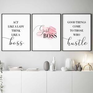 Hustle Hard Girl Digital Print Feminist Art Modern Wall Art Minimalist Framed
