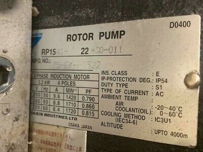 Details About Daikin 3 Hp Hydraulic Rotor Pump Unit Rp15a1 22 30