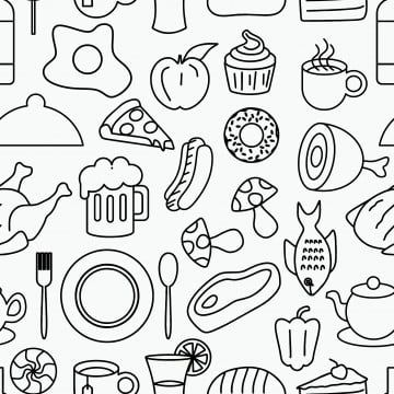 Lotus Line Drawings Lotus Clipart Line Clipart Lotus PNG Transparent Clipart Image and PSD File for Free Download in 2020 Food doodles Seamless pattern vector Doodle drawings