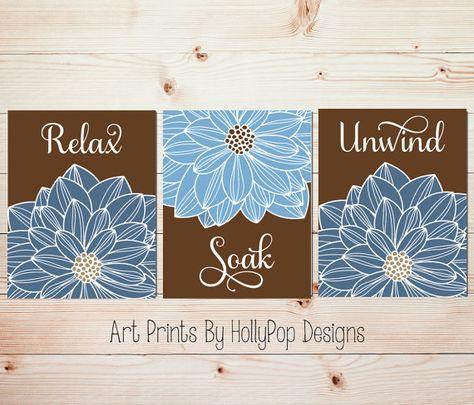 baafeede5df Bathroom Wall Art Blue Brown spa bathroom art prints Bathroom artwork Relax  Soak Unwind Floral Burst