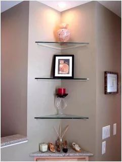 23 Stunningly Corner Shelf Ideas A Guide For Housekeeping Glass Corner Shelves Corner Shelf Design Bathroom Corner Shelf