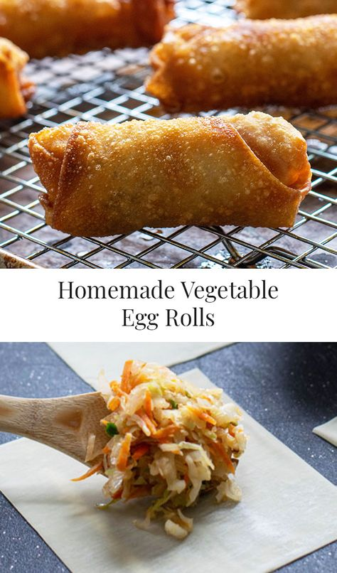 Homemade Vegetable Egg Rolls are a great vegan or vegetarian appetizer recipe. These vegetable egg rolls are made with shredded cabbage and carrots, green onion, and seasonings and are fried up in a matter of minutes! Vegetarian Appetizers, Appetizer Recipes, Vegetarian Recipes, Vegetarian Egg Rolls, Good Appetizers, Vegetarian Spring Rolls, Vegetable Appetizers, Veggie Food, Vegetable Egg Rolls