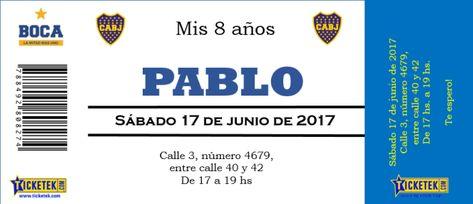 Invitación Fútbol Estilo Entrada Cumpleaños De Boca