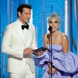"""Here's How Lady Gaga Reacted When Hosts Joked About Her """"100 People"""" Quote at the Globes  There can be 100 people in a room and 99 of them dont believe in you . . .  You probably already know how that quote ends and who it comes from. Considering how A Star Is Born completely won over the world and introduced us to the beautiful friendship between Lady Gaga and Bradley Cooper everyone has heard Gaga detail how Coopers support of her changed her life. Several times over. But Lady Gaga firmly stands behind her favourite anecdote about her A Star Is Born costar and director and shes not afraid to say it!  During Sandra Oh and Andy Sambergs opening monologue at the 2019 Golden Globes the Killing Eve star referenced Gagas repeated phrase saying And it just proves  and Im just coming up with this now  that there could be 100 people in the room and 99 dont believe in you. You just need one to believe in you and that was Bradley Cooper! To which the artist being quoted cried out Its TRUE! Cooper who is of course sitting beside Gaga bursts into laughter.  Despite how fun it is to joke about Gaga retelling the story its also incredibly sweet that the costars grew so close during production. Their chemistry is what makes A Star Is Born so amazing! We cant wait to see what else they get up to during the rest of award season."""