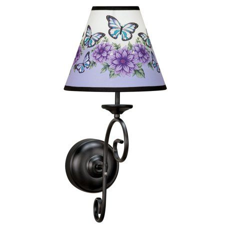 Butterfly Floral Wall Sconce Lamp With Remote Wireless Battery