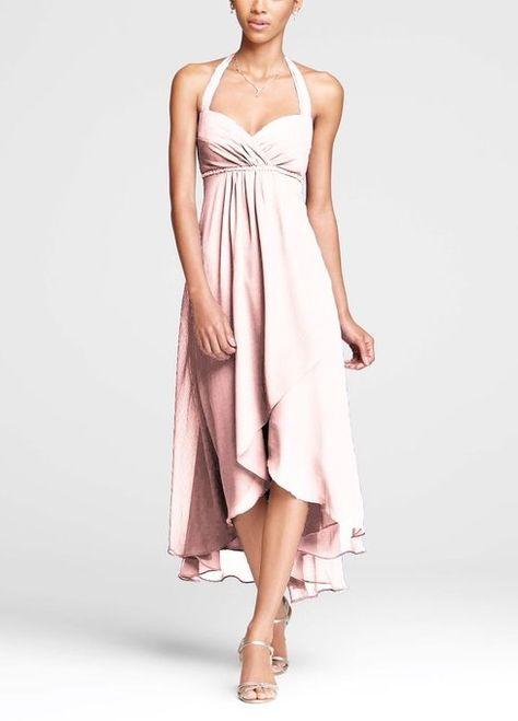 fbbec38de97 David s Bridal Women s Crinkle Chiffon Low Halter Bridesmaid Dress at Amazon  Women s Clothing store  Plus Size High Low Dress