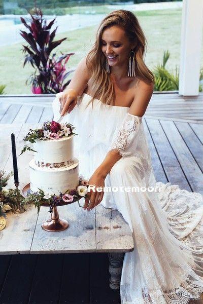 Bohemian Summer Beach Wedding Dress Off The Shoulder Straps