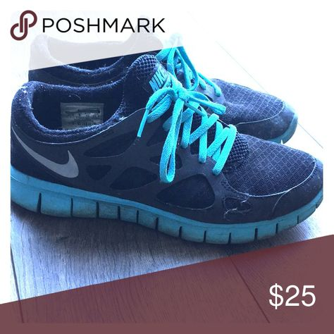 8b93b8d6dfb9 Nike Free Run 2 Black with blue accents. Used but good condition. Nike  Shoes Athletic Shoes