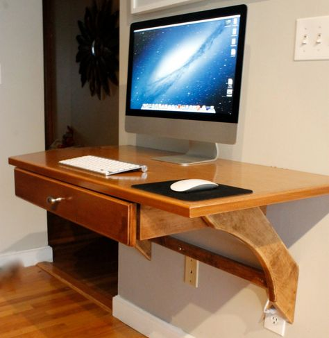 Wall Mounted Brown Wood Floating Desk Ikea With White Wall Color Custom Wall Mounted Computer Flo With Images Wall Mounted Computer Desk Diy Wood Desk Computer Desk Design