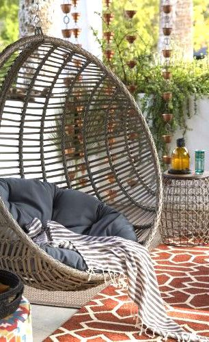 Wicker Hanging Egg Chair Home Decor Idea Affiliate Boho Garden Patio Outdoor Backyard Terrace Porch F Rooms Home Decor Hanging Egg Chair Patio Design