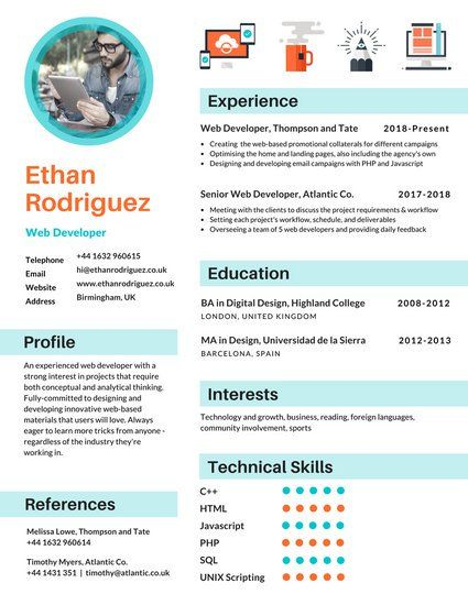 Blue Icons Infographic Resume Cv Infographic Infographic Resume Resume Design Template