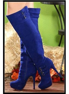 Cheap Suede Chunky Heel Thick Platform with Side Zipper Knee High Boots