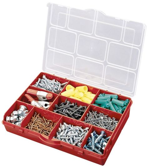 10 Compartment Portable Storage Box Red Plastic Box Storage Organiser Box Storage