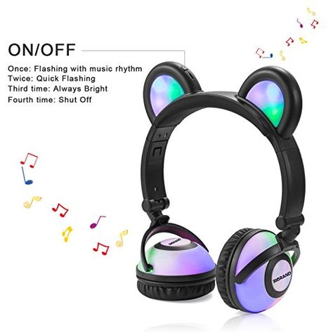 Bear Headphone with Flash Light Wired Ear Headband Best Gift