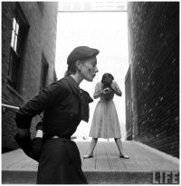 """Gordon Parks - Bettina Graziani """"Bettina"""" models fall college clothes for Vogue photographer Frances McLaughlin-Gill across from New York's Hunter College,..."""