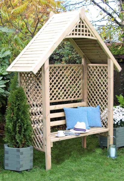A Classic Arbour Designed With Diamond Trellis Sides And Back