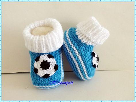 Babyschuhe Fußball blau-weiß von Hexenpott auf DaWanda.com