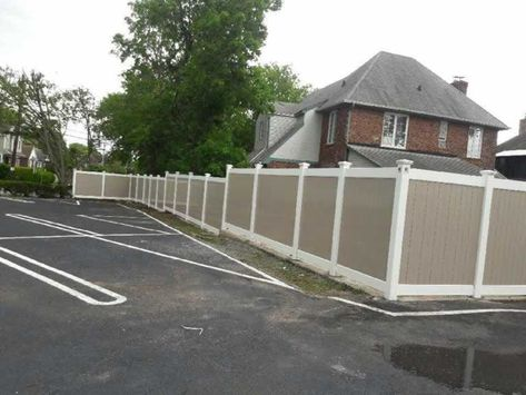 Best 72″ Two Tone Infinity Solid Pvc Fence With Khaki Panels 400 x 300