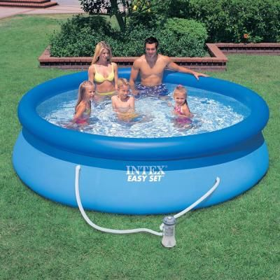 Intex Easy Set 10 Ft Round X 30 In Deep Inflatable Pool With 330