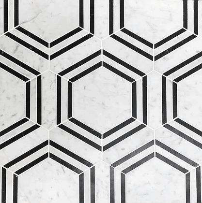 Carrara Venato Honed Hexagon Nero Strip Marble Mosaic Tile exclusively available from The Builder Depot.