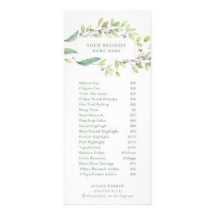 Leafy Green Watercolor Frame Salon Price List Rack Card Zazzle