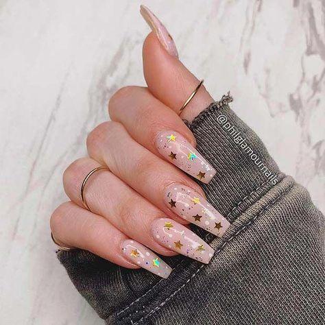 Gold Star Coffin Nails #cutenails