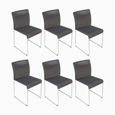 Metal And Black Paper Cord Dining Chairs 1960s Set Of 6 Dining