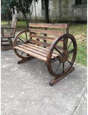 Millwood Pines Corbitt Wagon Wheel Wooden Garden Bench Millwood