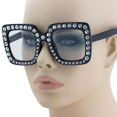 06dd7e0b25f8 2018 NEW Oversized Square Frame Bling Rhinestone Sunglasses Women Fashion  Shades Frame Bling Square