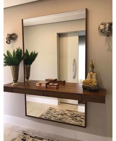 Putting a shelf in front of a mirror is such a great idea! Love how this looks!