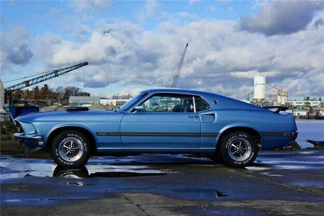 1969 ford mustang mach 1 428 cobra jet 4 speed winter blue with