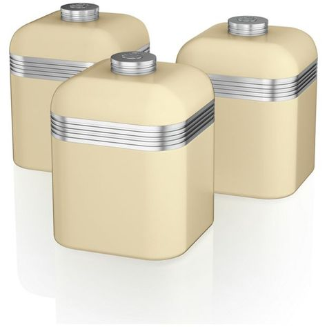 Swan Canister Set Cream Coffee Canister Tea Coffee