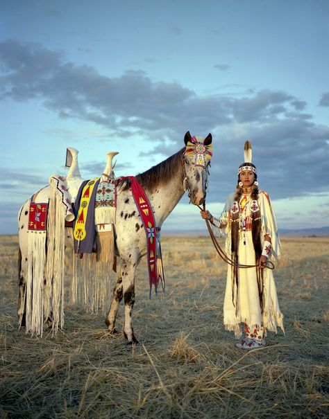 """From Striking Photos of Cultural Fashions You Have to See [X]: """"Kate Harris poses with her horse at the Happy Canyon Show in Oregon state. The show celebrates Native American heritage and Old West. Native American Horses, Native American Beauty, American Indian Art, Native American History, American Indians, American Symbols, American Traditional, American Girl, Native American Images"""