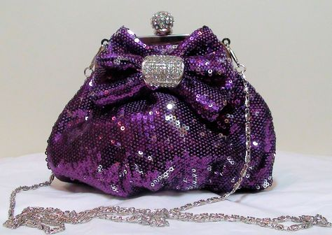 Purple Sequin & Crystal Evening Bag Clutch Handbag Purse Prom Wedding