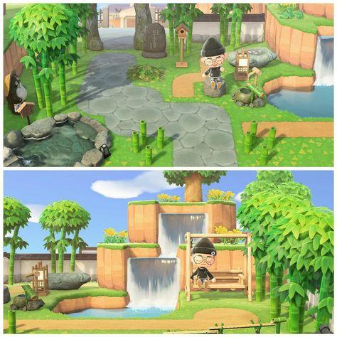 Made a little Japanese/Zen inspired Park. : AnimalCrossing Made a little Japanese/Zen inspired Park. Animals Crossing, Animal Crossing Guide, Animal Crossing Qr Codes Clothes, Zen Sand, Ac New Leaf, Motifs Animal, House Ideas, Island Design, Geek Decor