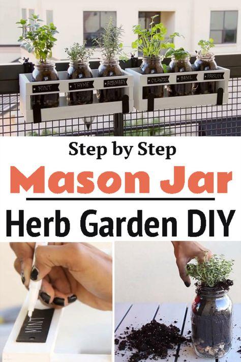 DIY Mason Jar Herb Garden | Step by Step Tutorial