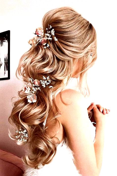 33 Wedding Hairstyles With Hair Down ❤ wedding hairstyles down long blonde hair half up half down with pink roses verafursova #weddingforward #wedding #bride #weddinghairstyles #weddinghairstylesdown