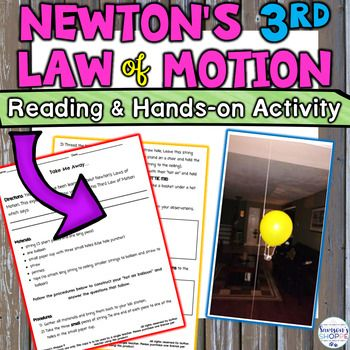 Introduce And Teach Your Students About Newton S 3rd Law Of Motion With This Info Newtons Third Law Newtons Third Law Of Motion Reading Comprehension Questions