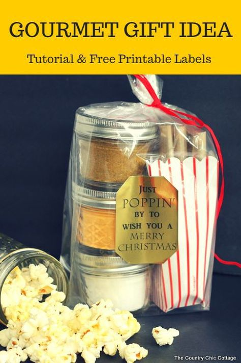 Gourmet popcorn gift idea tutorial with free printable labels.