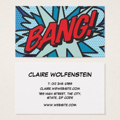 Personalised pop art comic book bang business card colourmoves