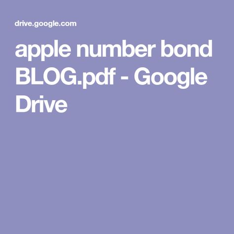 Apple Number Bond Blog Pdf Google Drive Juegos Pinterest