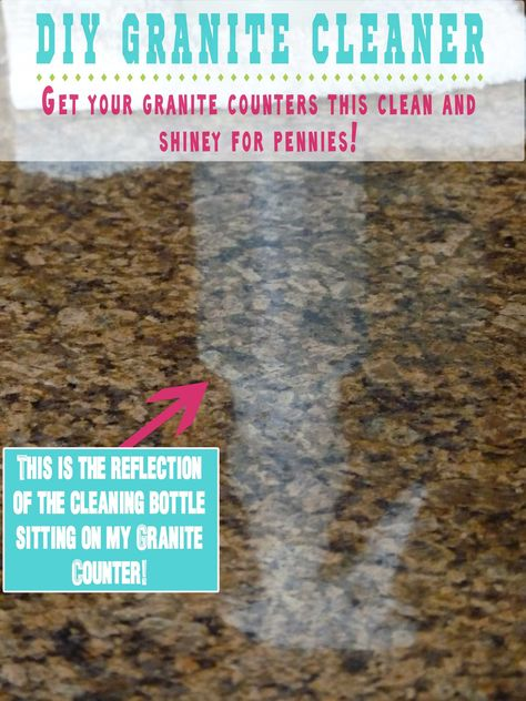 DIY Granite Cleaner: 1/4 c rubbing alcohol, 3 drops dishwashing liquid, 2 cups water, 5-6 drops essential oils.  Place them in a cleaning bottle, mix gently and you are ready to go