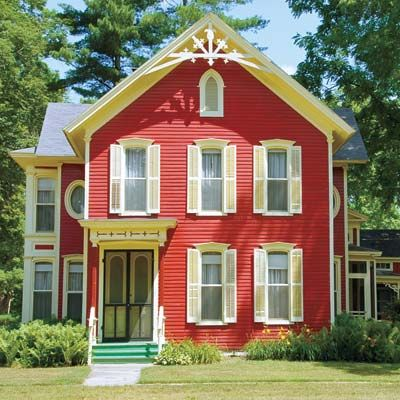 Red Exterior Houses | June: Touch Up Exterior Paint | A Year\'s ...