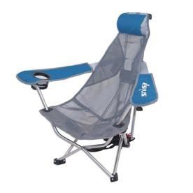 Swimways Mesh Folding Backpack Beach Chair With Headrest Blue And Gray 80403 80403 Backpacking Chair Beach Chairs Tailgate Chairs