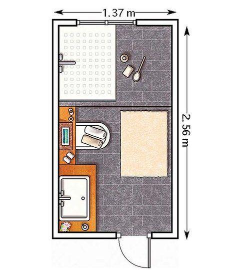 Plano: Un baño en blanco y negro de 3,50 m²
