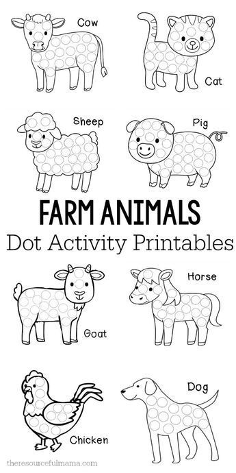 These farm animals dot activity printables are a fun fine motor activity for toddlers and preschoolers that will make a addition to your farm unit. They work great with Do a Dot markers, bingo markers, dot stickers, or pom poms. do a dot Toddler Art, Toddler Learning, Toddler Preschool, Preschool Crafts, Easter Crafts For Toddlers, Farm Animals Preschool, Farm Animal Crafts, Farm Animals For Kids, Preschool Farm Theme