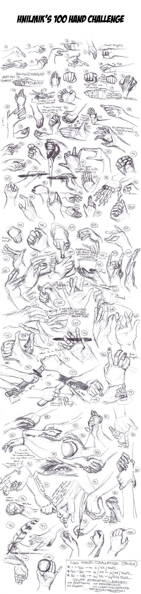 100 Hand Challenge (Hand Studies) by ~Hnilmik on deviantART