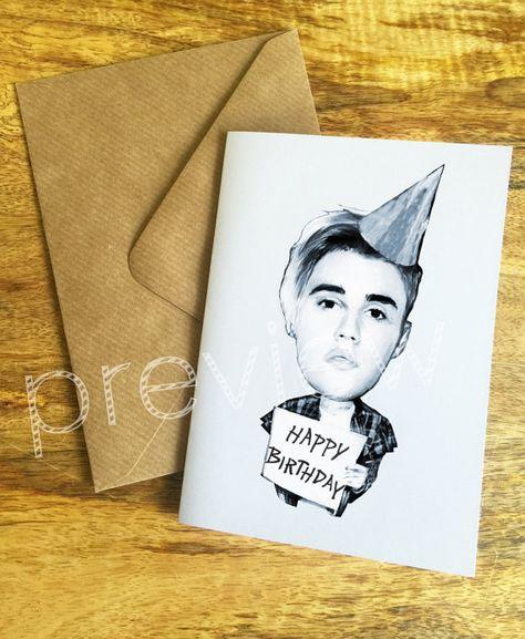 Personalizados Justin Bieber Tarjeta De Cumpleaños