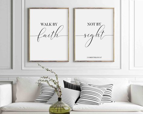 Walk By Faith Not By Sight Sign, Set Of 2 Bible Verse Prints, Christian Scripture Quote, Large Poster Decor, Printable Wall Art, Corinthians