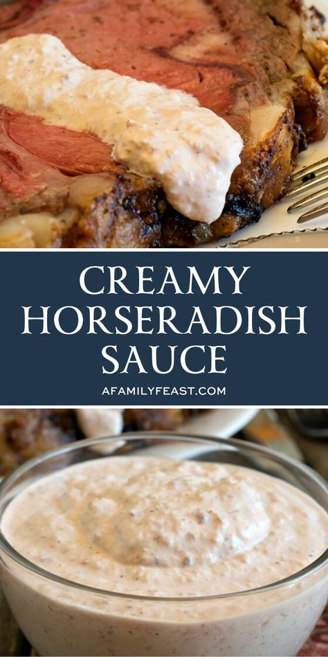 This Creamy Horseradish Sauce is cool and creamy with a gentle heat, and spooned on top of a slice of prime rib – it helps balance and enhance the richness of the meat. Homemade Horseradish, Horseradish Recipes, Creamy Horseradish Sauce, Prime Rib Horseradish Sauce, Rib Recipes, Sauce Recipes, Cooking Recipes, Sushi Recipes, Fall Recipes